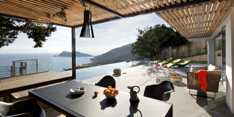 muebles el paraiso terraza moderna amplio piscina pergola ideas