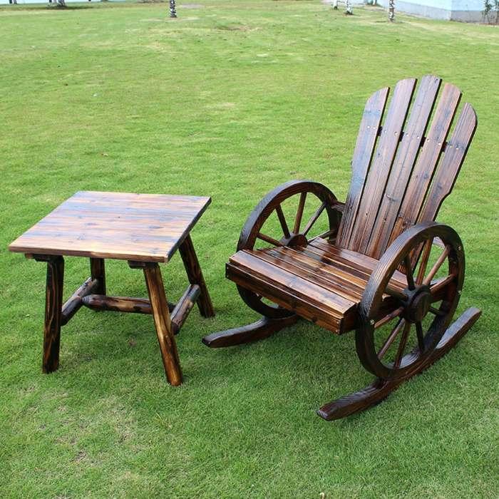 muebles madera retocados cedro cesped