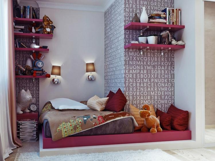 muebles modernos estantes color rojos