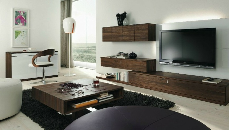 muebles pared mesa madera oscura salon ideas