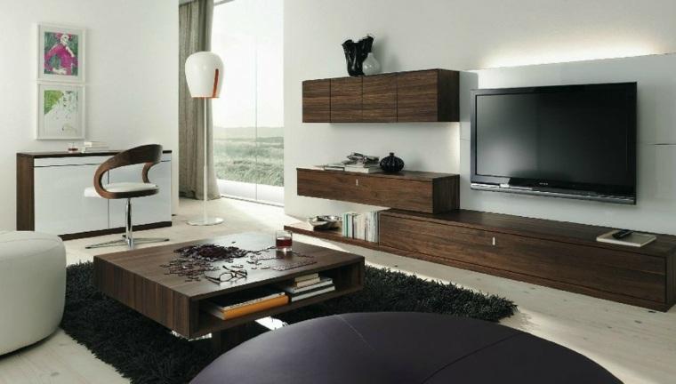 muebles pared mesa madera oscura salon ideas