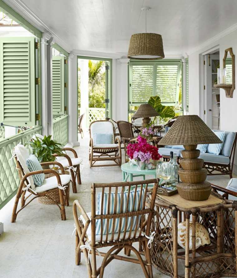 muebles rattan lamparas decorativas terraza ideas