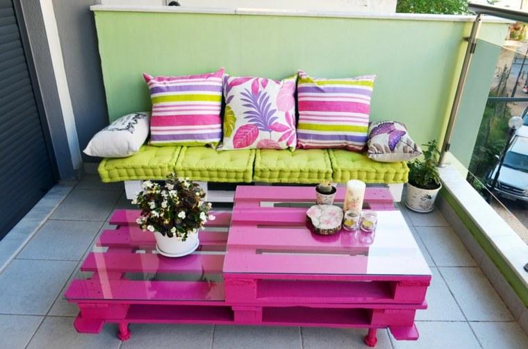 muebles terraza pintados colores