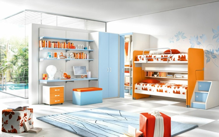 muebles color naranja celeste