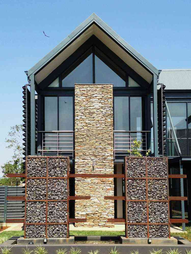 muros piedras gaviones modernos valla