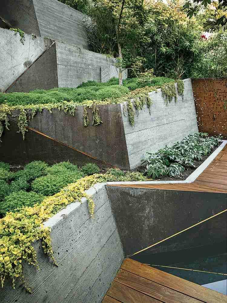 muros terrazas cemento jardin