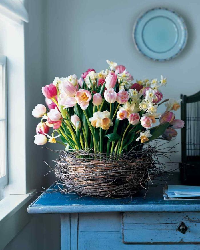 nido ramas tulipanes original decorar casa primavera ideas