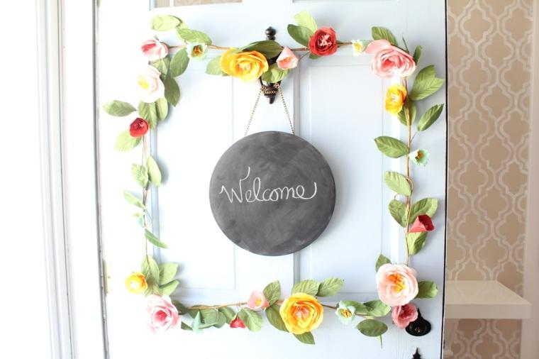 opciones coronas puerta cuadrado flores ideas