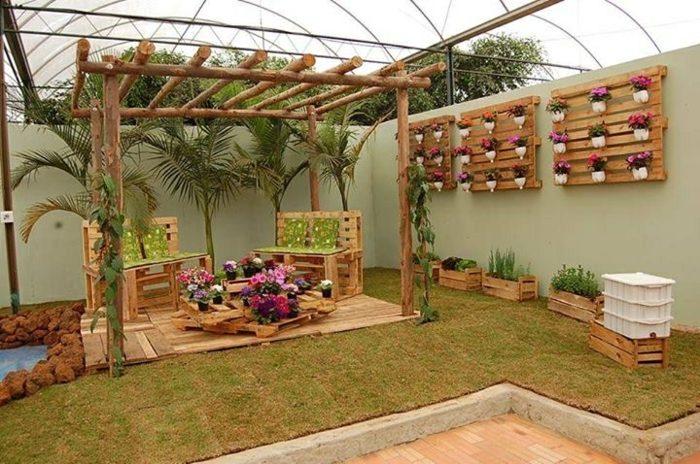 opciones creativas palets reciclar jardin ideas