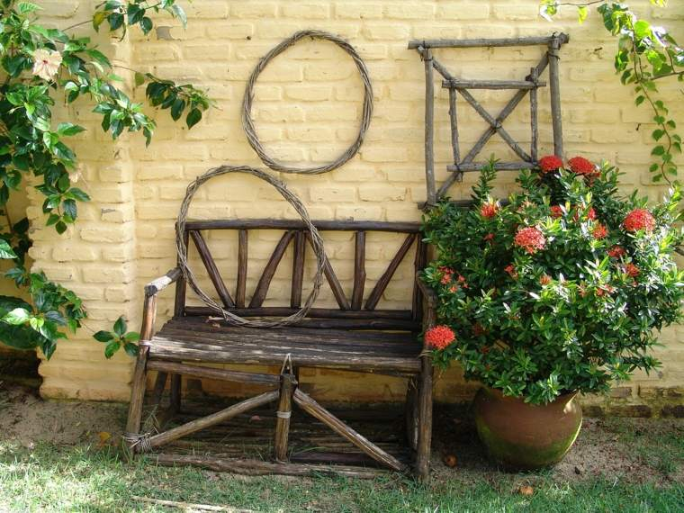 opciones decorara jardin banco diseno rustico ideas