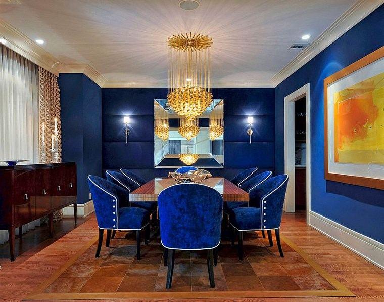 opciones diseno colorido comedor azul sillas terciopelo ideas