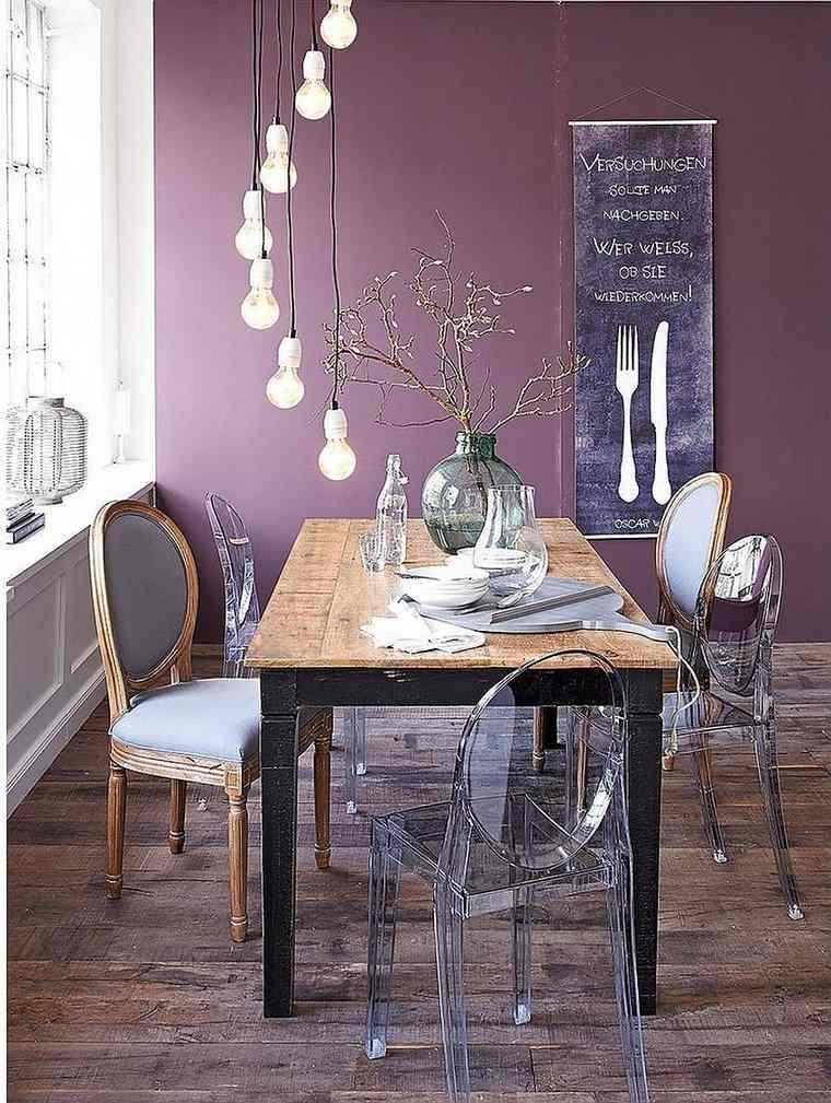 opciones diseno colorido comedor color purpura oscuro pared ideas