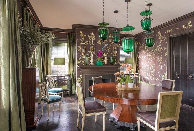 opciones diseno colorido comedor estampa lamparas verdes ideas