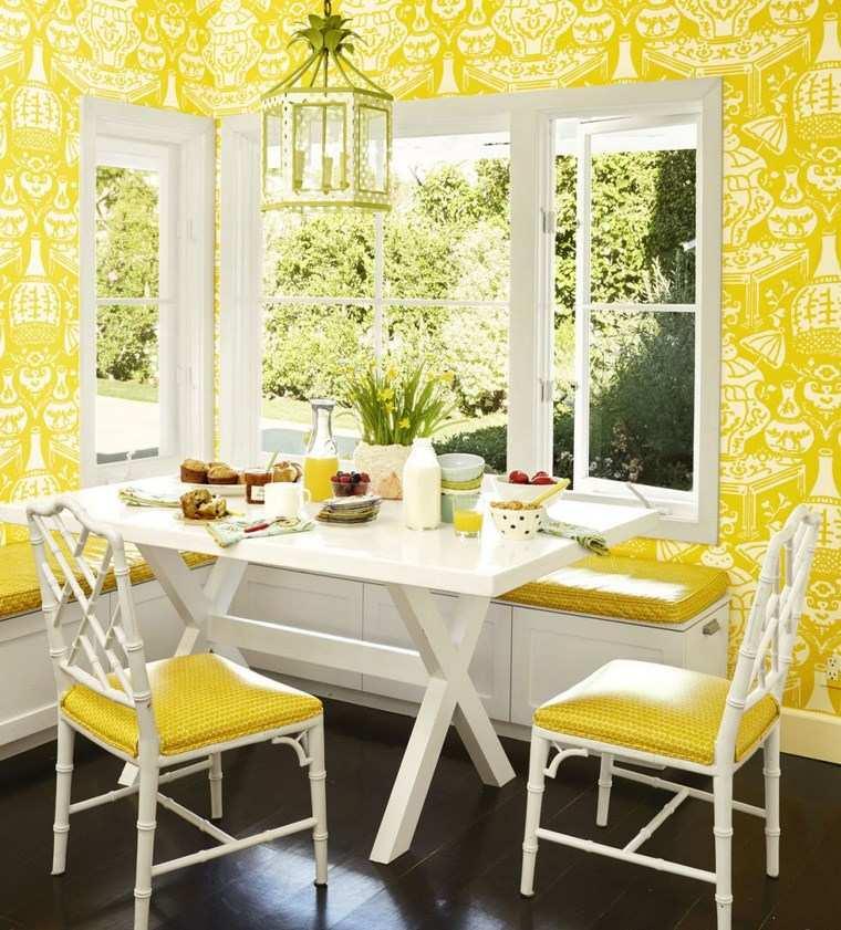 opciones diseno colorido comedor papel pared amarillo ideas