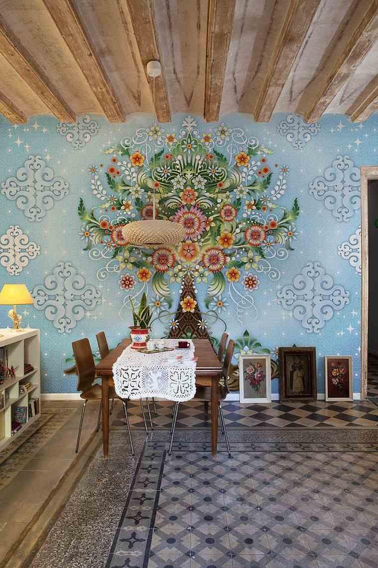 opciones diseno colorido comedor papel pared espectacular ideas