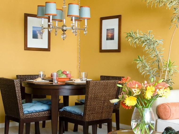 opciones diseno colorido comedor pared amarilla ideas