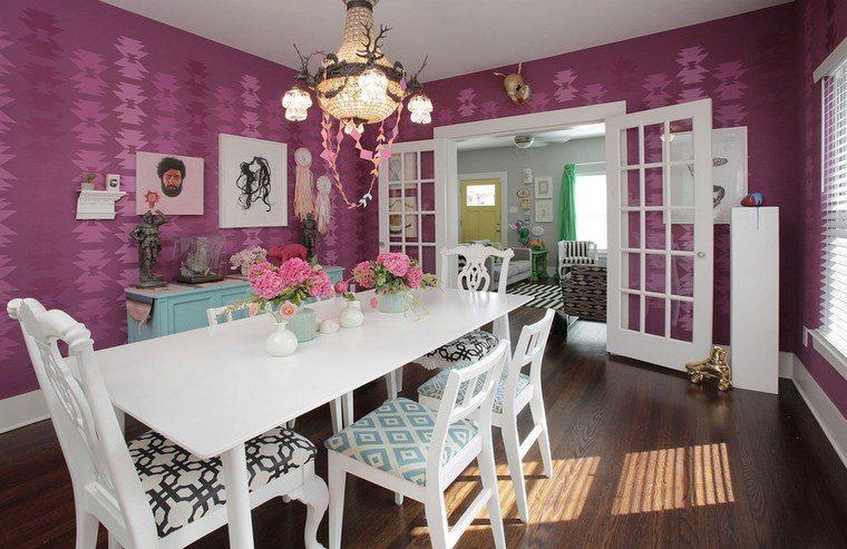 opciones diseno colorido comedor paredes color purpura ideas