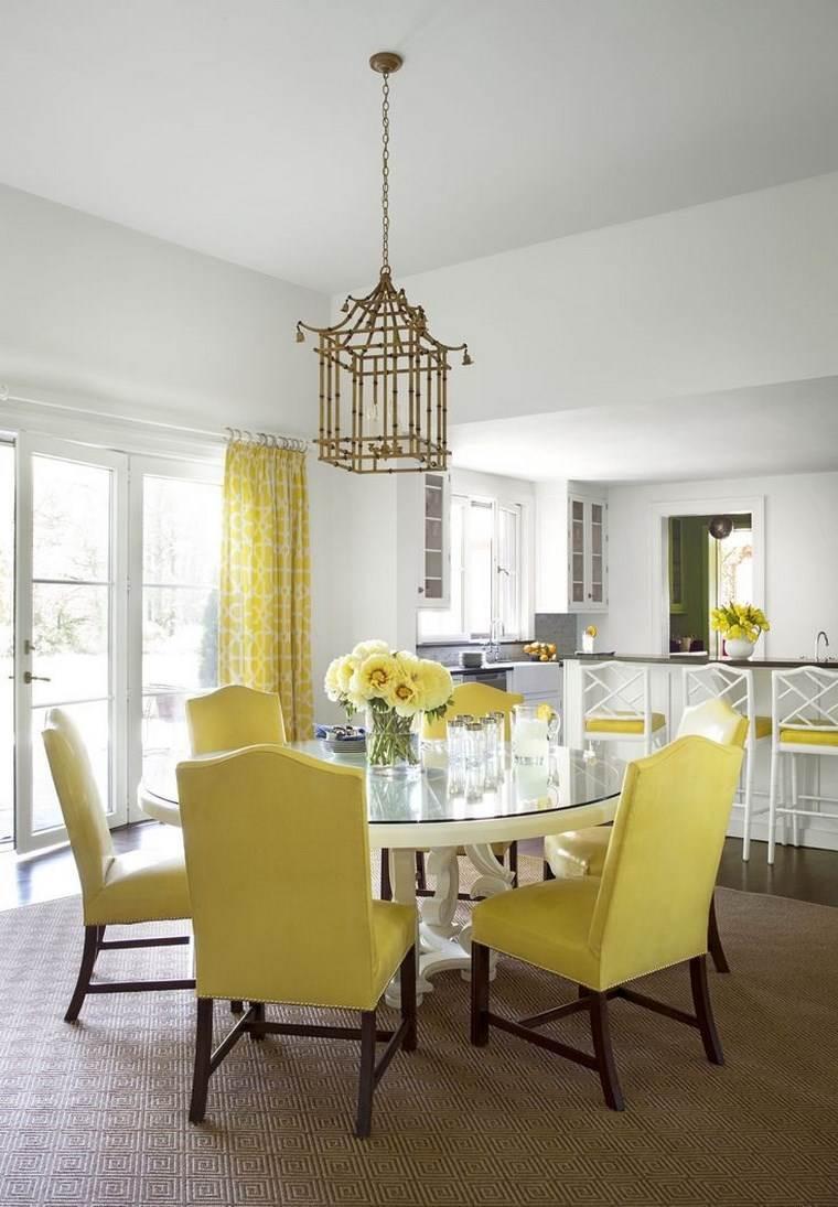 opciones diseno colorido comedor sillas cortina amarillo ideas