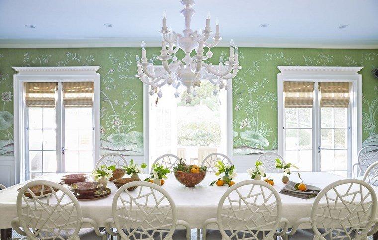 opciones diseno colorido comedor verde blanco ideas