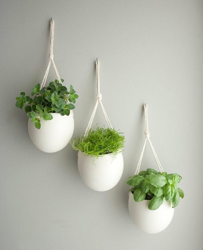 opciones hierbas jardin vertical macetas porcelana ideas