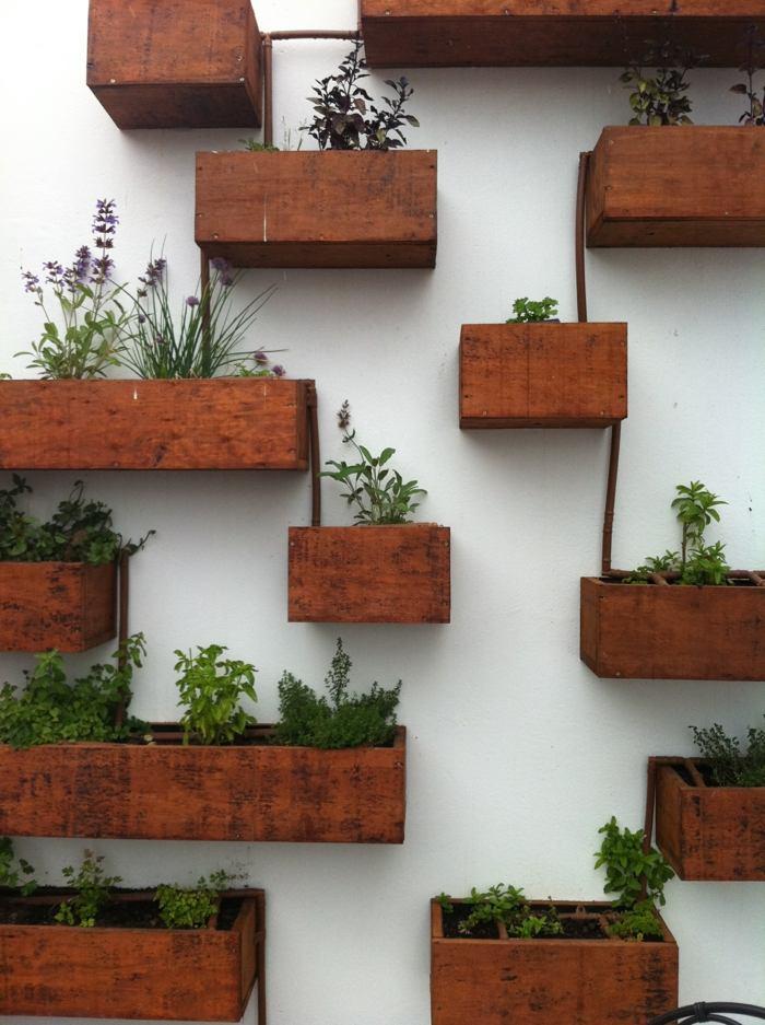 opciones hierbas jardin vertical cajas madera ideas