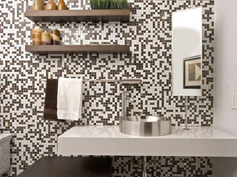 opciones mosaico banos blanco marron ideas