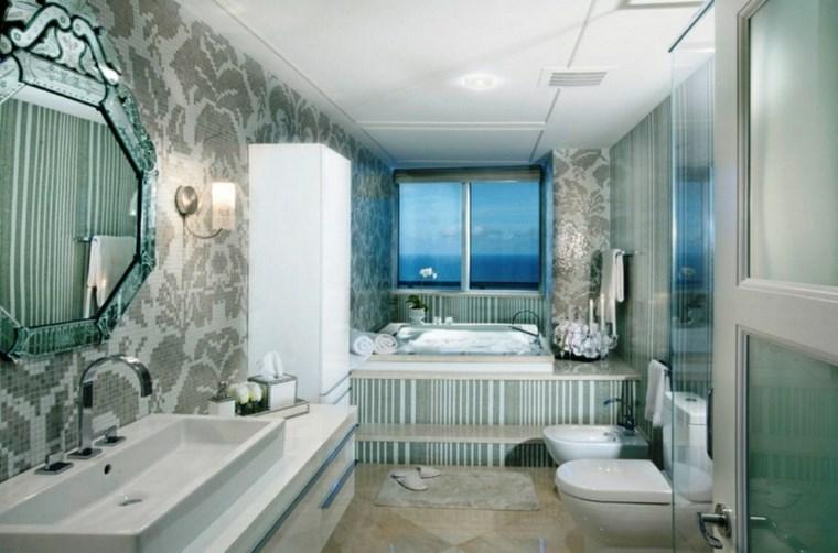 opciones mosaico banos espejo pared flores ideas