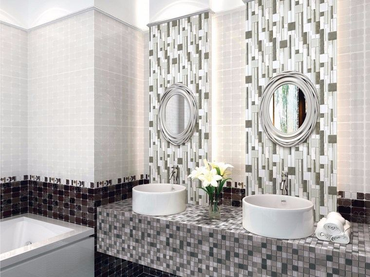 Mosaicos 115 dise os de ba os atractivos y coloridos - Espejos pequenos ...