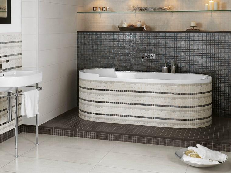 opciones mosaico banos lavabo estantes ideas