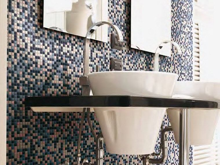 opciones mosaico banos lavabos blancos pared ideas