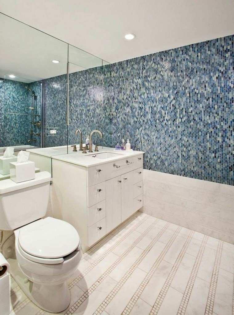 opciones mosaico banos media pared azul ideas
