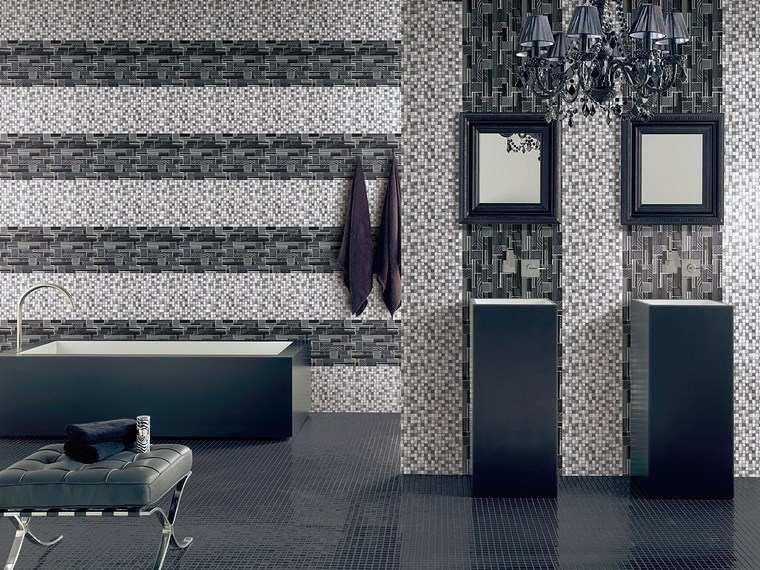 opciones mosaico banos negro gris ideas