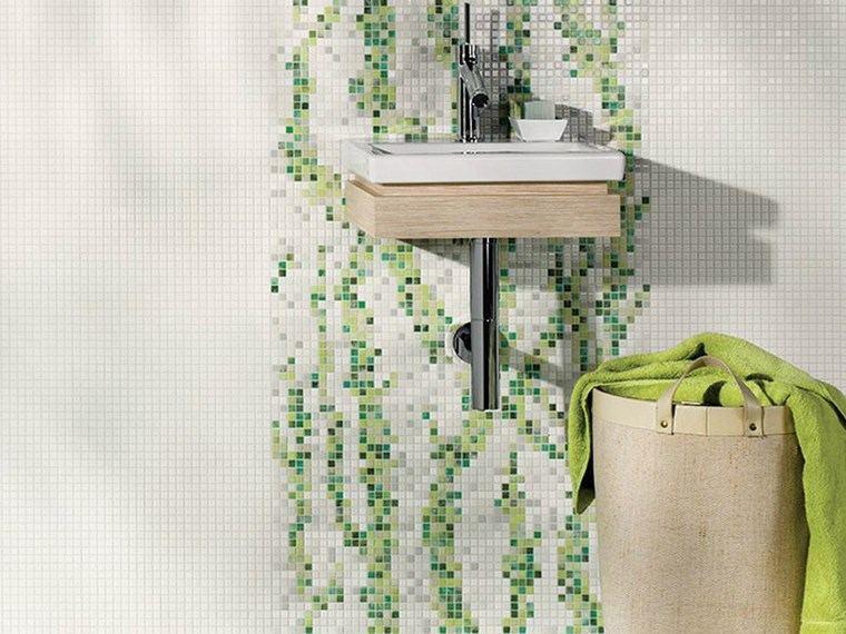 opciones mosaico banos pared blanco verde ideas