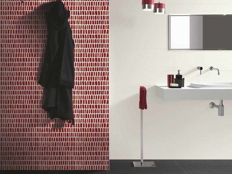opciones mosaico banos rojo blanco pared ideas