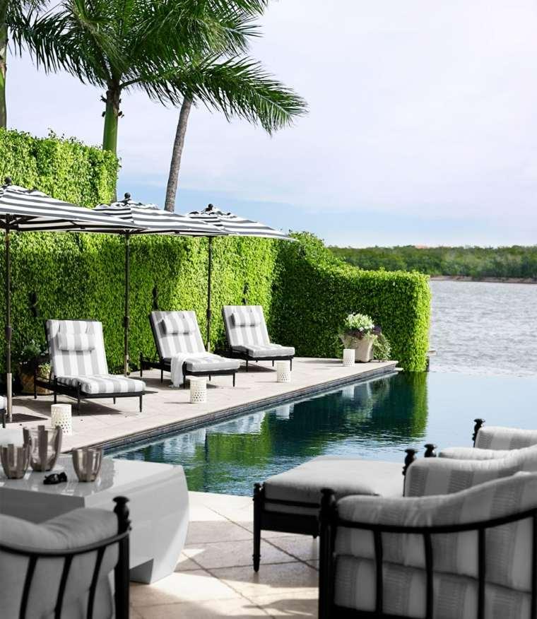 opciones muebles rodean piscina tumbonas sillones ideas