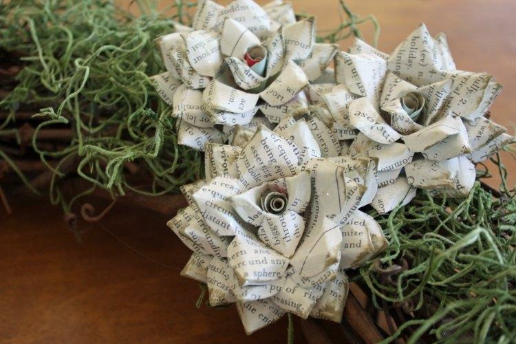 original diseño corona flores papel