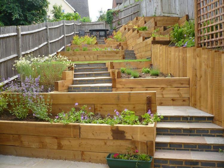 Jardines Modernos Con Terrazas Y Gradas 50 Dise 241 Os