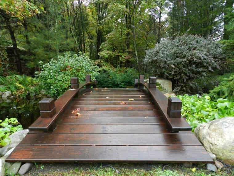 Puente en el jard n cincuenta y nueve ideas para for Jardines con madera y piedra