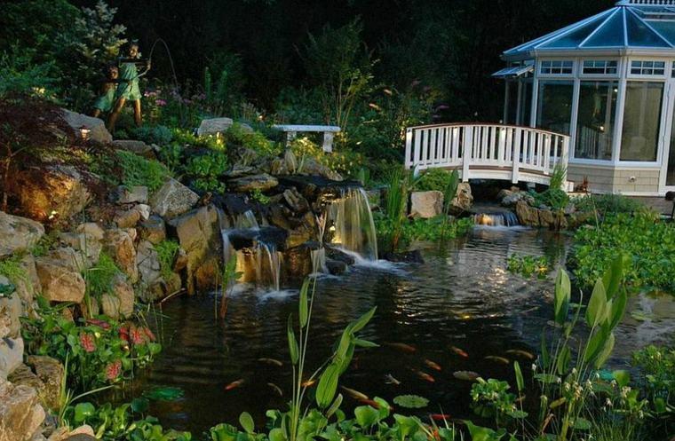 original diseño jardín cascada estanque