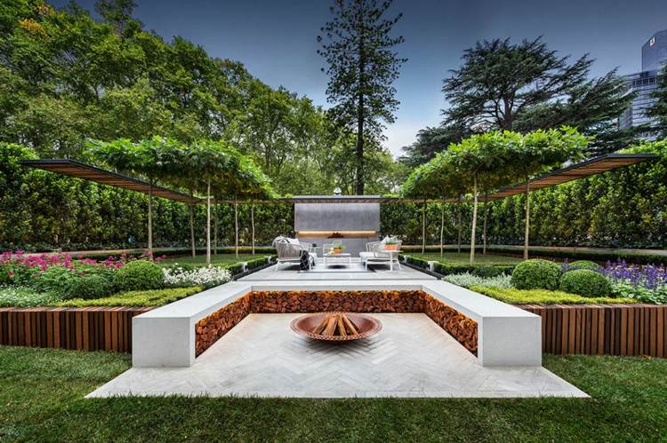 Jardines modernos con terrazas y gradas 50 dise os - Iluminacion de jardines modernos ...