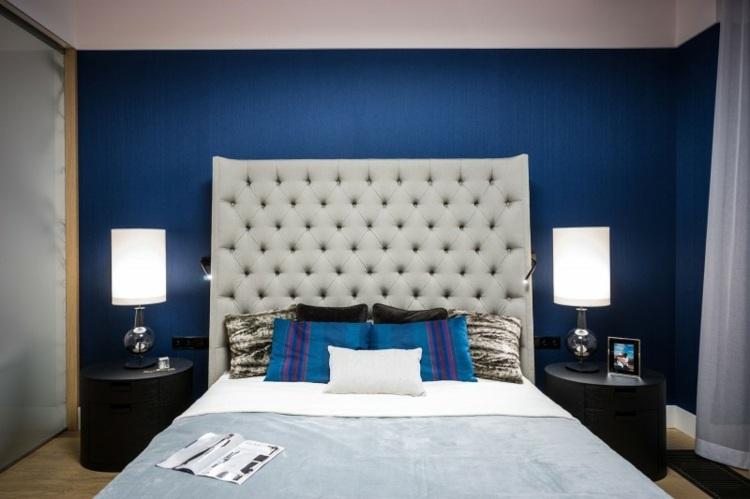 original diseño pared dormitorio azul