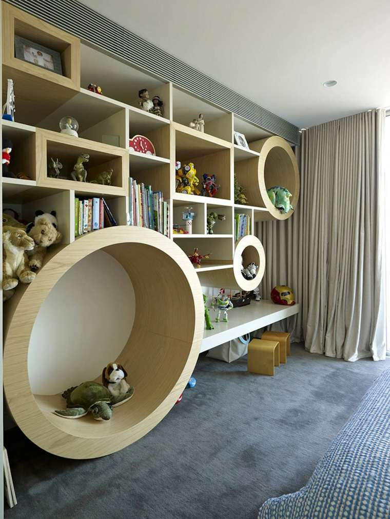 Estanter as para habitaciones infantiles 50 ideas geniales - Estantes de madera para pared ...