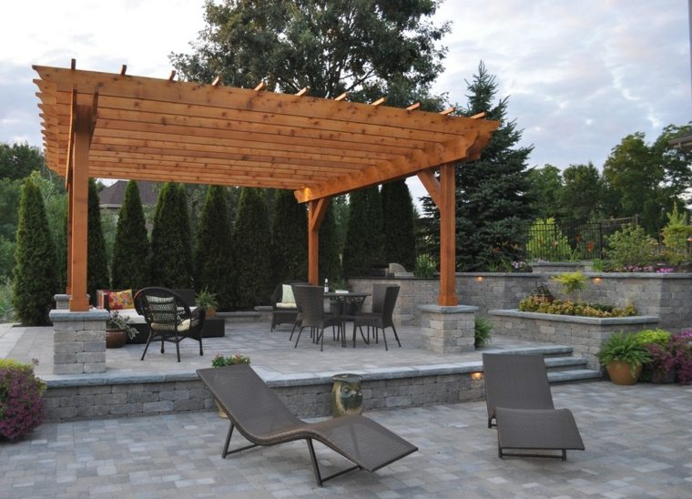 original diseño terraza pergola madera