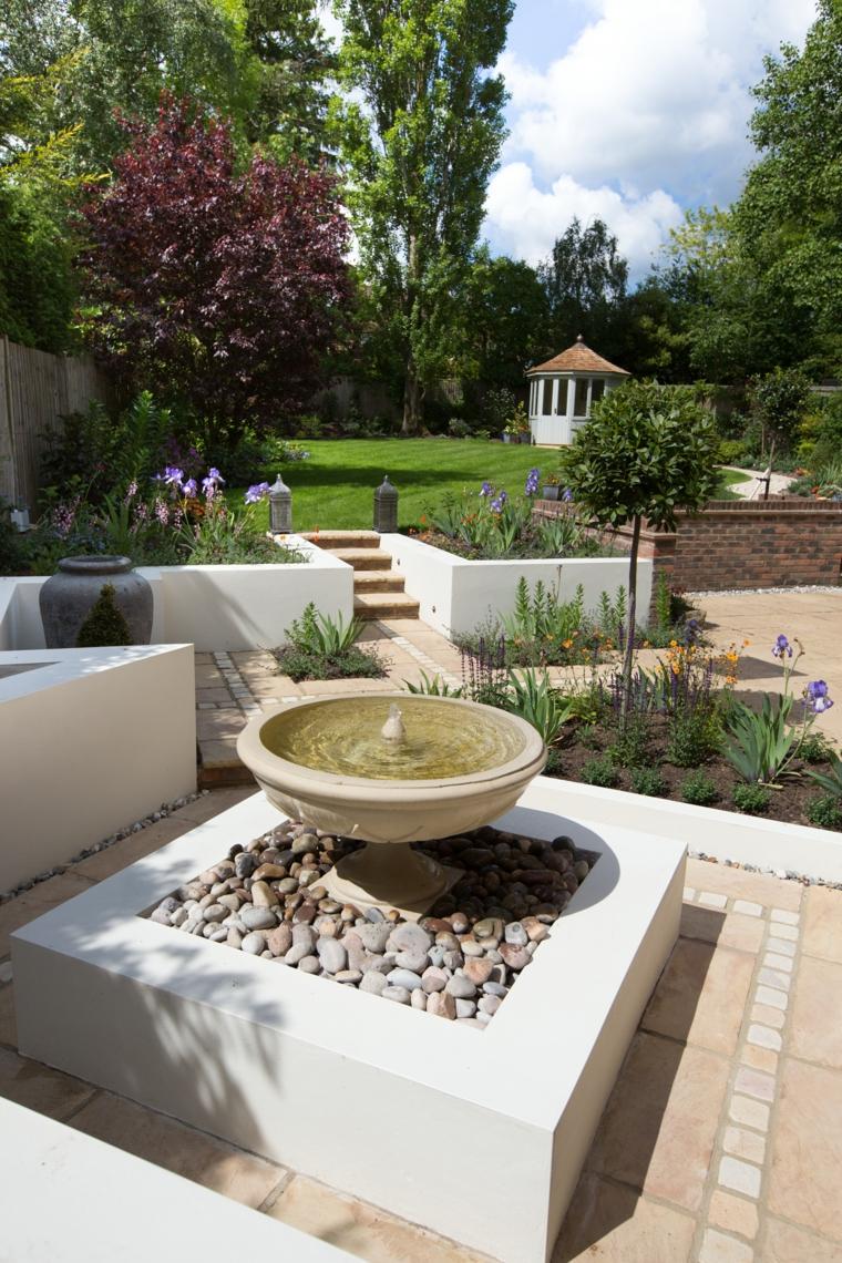 original fuente jardín piedras deco