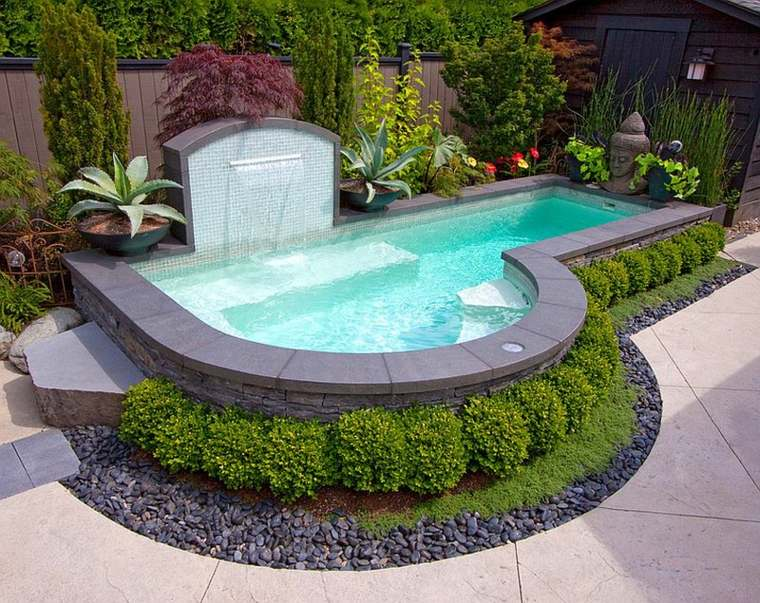 original jardin piscina fuente cascada