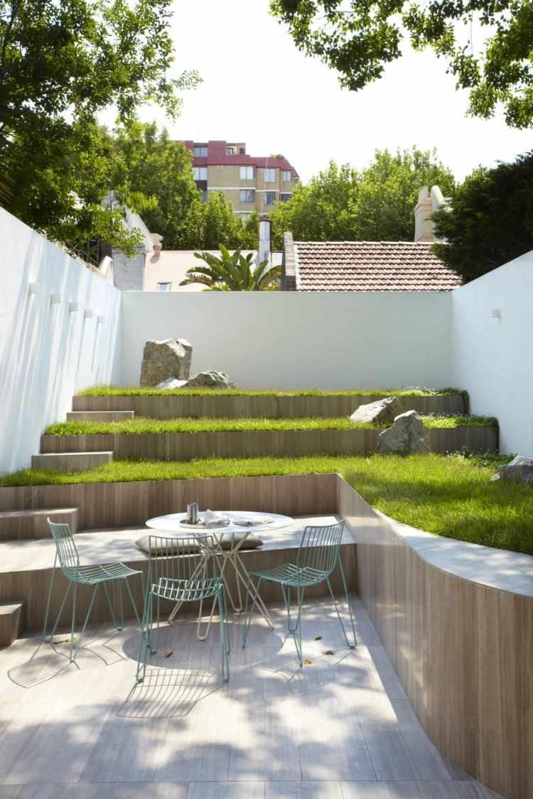 original diseño patio jartdín aterrazado