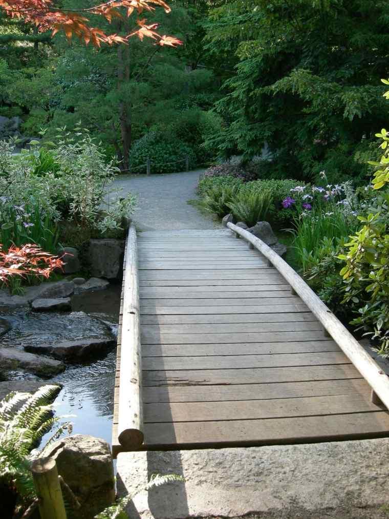 Puente en el jard n cincuenta y nueve ideas para - Jardines de madera ...