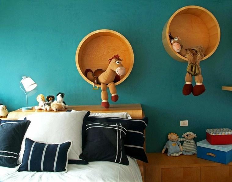 originales estantes redondos madera pared