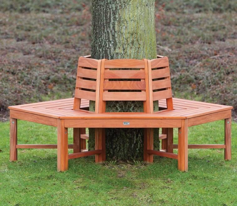 jardin terraza original banco cuadrado arbol deco originales asientos madera color naranja