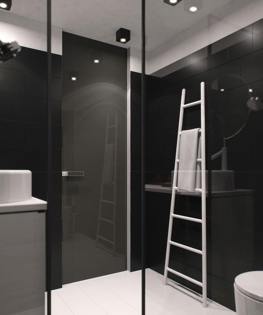 oscuro diseño baño pequeño